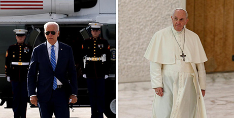 Joe Biden and Pope Francis (CNS/Jonathan Ernst, Reuters and Paul Haring)