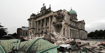 The Cathedral of the Blessed Sacrament in Christchurch, New Zealand, was severely damaged in the 2011 earthquake (CNS/David Wethey, NZPA)
