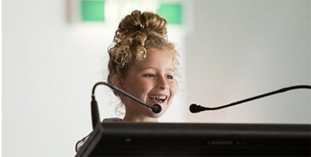 Annie Flemming at Parliament House (Catholic Voice)