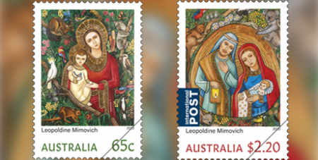 Leopoldine Mimovich artwoks combine traditional iconography with native fauna and flora (Australia Post)