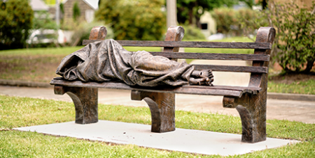 The Homeless Jesus statue at Newman College, Melbourne (Australian Jesuits)