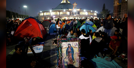 Pilgrims rest outside the Basilica of Our Lady of Guadalupe in Mexico City on December 11 2018, the eve of the Guadalupe feast day (CNS/Carlos Jasso, Reuters)