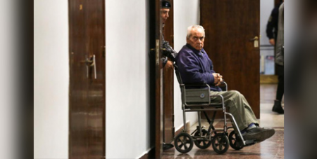 Fr Nicola Corradi arrives for his trial in Mendoza, Argentina, on August 5 (CNS/Maximilano Rios, Reuters)
