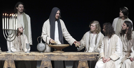 Frederik Mayet (third from left) portrays Jesus in the 2010 Oberammergau Passion Play (CNS/Michael Dalder, Reuters)