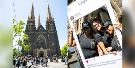 ACYF pilgrims at St Patrick's Cathedral in East Melbourne on Sunday (Melbourne Catholic)