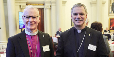 Melbourne Anglican Archbishop Philip Freier and Archbishop Peter A. Comensoli at the Parliamentary Interfaith Breakfast yesterday (ACU)