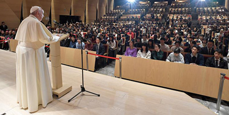 Pope Francis speaks to students and staff at the Jesuit-run Sophia University in Tokyo yesterday (CNS/Vatican Media via Reuters)