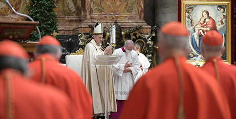 Pope Francis at the consistory to create 13 new cardinals at St Peter's Basilica on Saturday (Vatican Media)