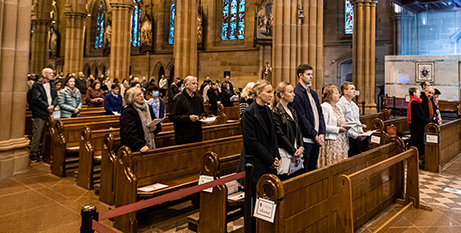 A socially distanced Mass at Sydney's St Mary's Cathedral in July 2020 (Sydney Archdiocese)
