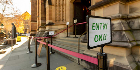 St Mary's Cathedral with a cordon and entry sign late last year (The Catholic Weekly/Patrick J Lee)