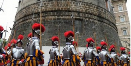 Swiss guards outside Vatican bank