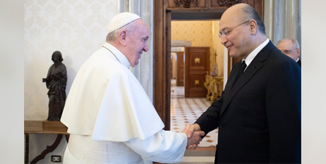Pope Francis greets Iraqi President Barham Salih at the Vatican in January (CNS/Kevin Lamarque, Reuters)