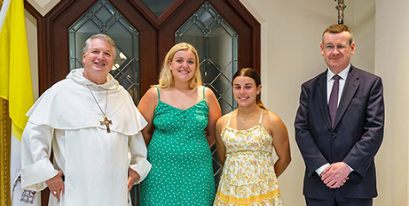 Archbishop Anthony Fisher OP, Sienna Thomas, Katie-Lee King and Professor Francis Campbell (The Catholic Leader/Patrick J Lee)
