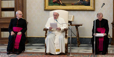 Pope Francis during the general audience in the library of the Apostolic Palace yesterday (CNA/Vatican Media)