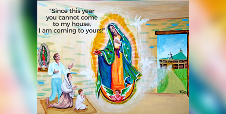 Artwork encouraging the faithful to celebrate the Coronation of Our Lady of Feast at home (CNS illustration/TJ Birnbaum)
