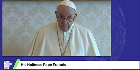 Pope Francis delivers his video message to the Climate Ambition Summit (United Nations)
