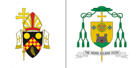 The Brisbane Archdiocese logo and the coat of arms of Darwin Bishop Charles Gauci (Supplied)
