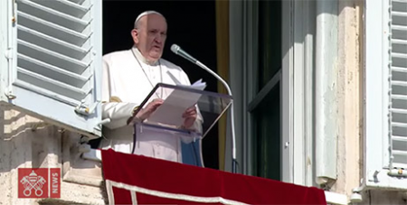Pope Francis delivers his Angelus address yesterday (Vatican Media)