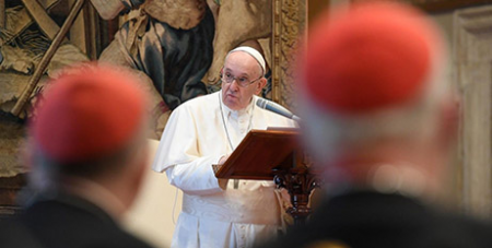 Pope Francis addresses the Curia yesterday (Vatican Media)