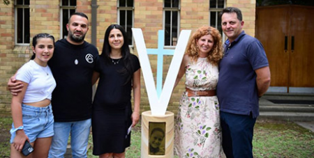 (From left) Liana, Danny and Leila Abdallah and Bridget Sakr and partner Craig Mackenzie at Veronique's memorial (The Catholic Weekly/Giovanni Portelli)