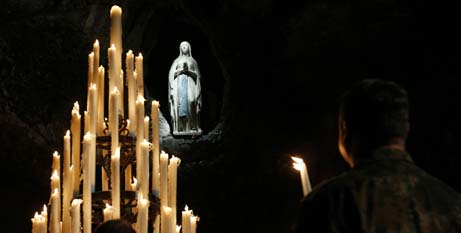 A statue of Mary in the grotto at the Shrine of Our Lady of Lourdes (CNS/Paul Haring)