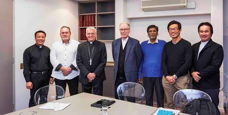 Willetton parishioners and priests with Archbishop Timothy Costelloe SDB and Bishop Don Sproxton (Ron Tan/eRecord)